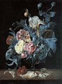 Roses, irises, poppies and other flowers in a glass vase - Willem Van Aelst