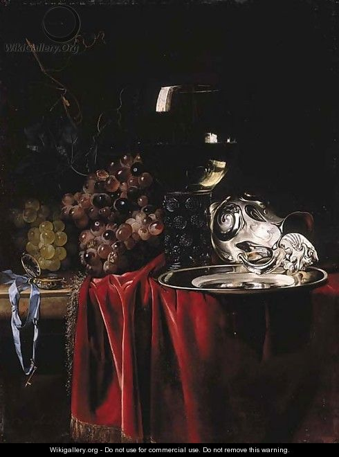Grapes, a pocketwatch, a roemer, a silver ewer and a plate - Willem Van Aelst