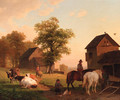 Farmyard with peasants and cattle - Jacobus Nicolaas Tjarda Van Stachouwer
