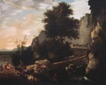 Cowherds and cattle on a footbridge in an Italianate landscape - Willem Schellinks