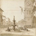 A view of the Piazza del Duomo, Messina, with the Fountain of Orion, the Cathedral to the right - Willem Schellinks