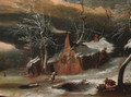 A winter landscape with woodmen before a cottage - Willem Schellincks