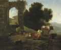 Cattle and sheep by a ruined church in an Italianate landscape - Willem Romeyn