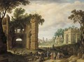 The Roman Forum with drovers and watercarriers on a path in the foreground - Willem van, the Younger Nieulandt