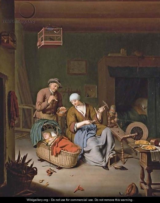 A woman spinning yarn with a baby in a wicker basket and an old man smoking a pipe - Willem van Mieris