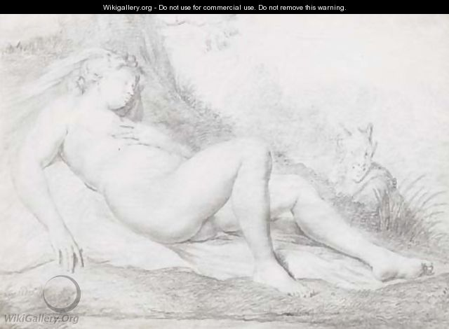 A sleeping nymph watched by a satyr - Willem van Mieris