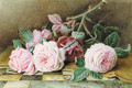Still-life of pink roses on a marble topped table - William B. Hough