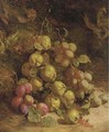 Pears and plums on a mossy bank - William B. Hough