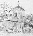 Pigs rooting near a small church - Willem Bastiaan Tholen