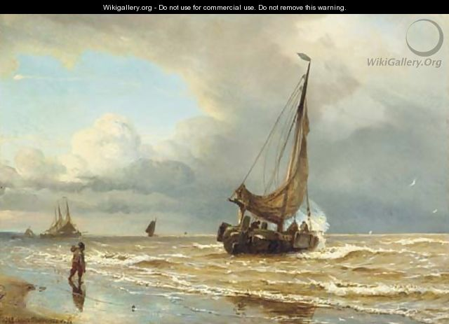 Sailing vessels in the surf - W.A. van Deventer