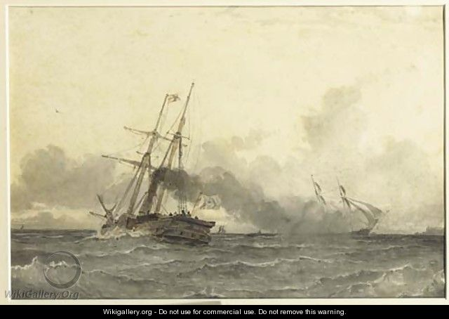 A steamship in open water - W.A. van Deventer