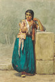 A North African beauty brading her hair - Willem De Famars Testas