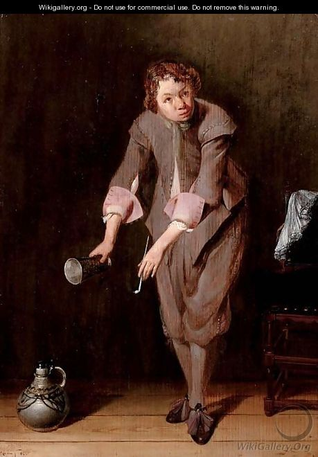 A youth holding a silver cup and a pipe - Willem Cornelisz. Duyster