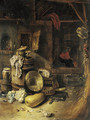 The courtyard of a cottage with a peasant by a fire - Willem Kalf