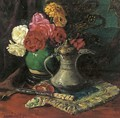 Roses in a chinese jar amongst oriental objects - Willem Roelofs