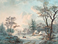 A winter landscape with an ox-cart on a wooded road near a village - Willem De Klerk