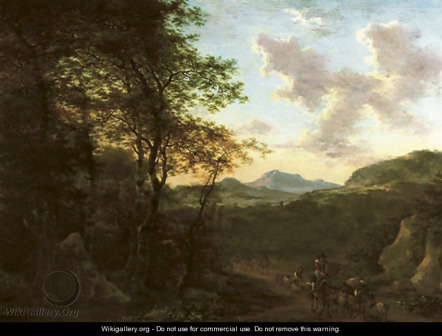 An Italianate wooded landscape with a peasant on his mule driving sheep on a track, a river and mountains beyond - Willem de Heusch
