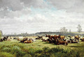 Cows grazing in a meadow in summer - Willem Roelofs