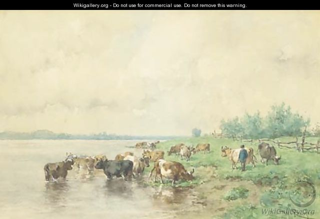 Cattle grazing by the riverside - Willem Roelofs