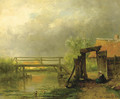 After the rain a footbridge across a ditch - Willem Roelofs