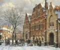 Winter daily activities on a sunny day in Oudewater - Willem Koekkoek
