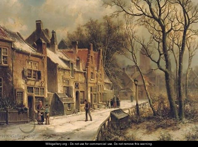 Villagers in a snow-covered Dutch town - Willem Koekkoek