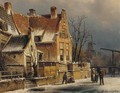 Houses along a canal in winter - Willem Koekkoek