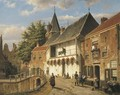 Dutch Street with Figures by an Inn by a Bridge - Willem Koekkoek