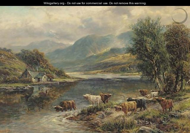 Highland cattle in a mountainous landscape - Walter Langley