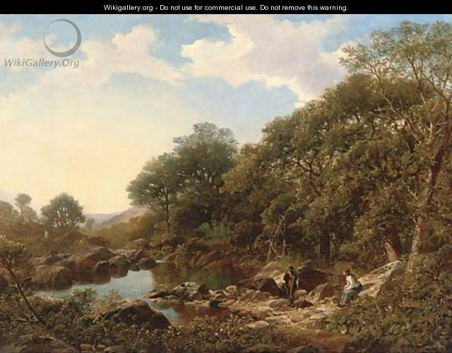 An Angling party in a river landscape - Walter Williams