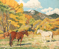 Cottonwood and Wild Horses - Walter Ufer