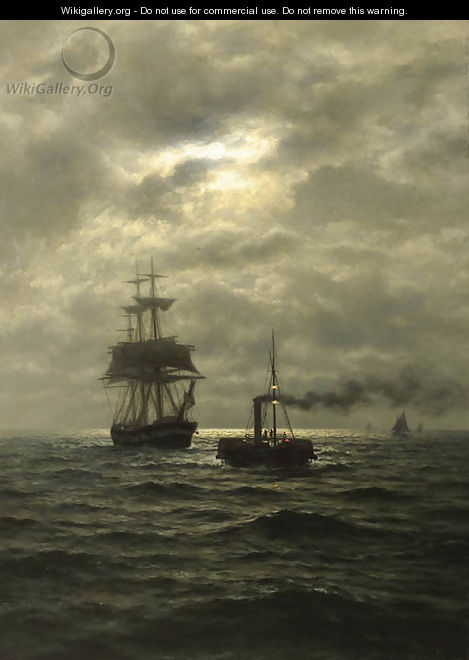 Tug and three-master in moonlight - Wilhelm Xylander