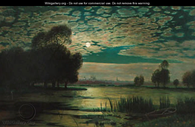 A river landscape by moonlight - Wilhelm Harsing
