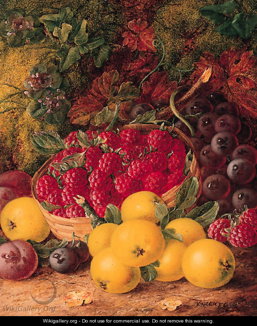 Apples, Plums, Raspberries in a wicker Basket, on a mossy Bank - Vincent Clare