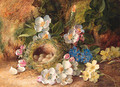 Apple Blossom, Primroses, a Bird's Nest with Eggs, on a mossy Bank - Vincent Clare
