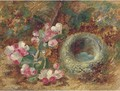 Apple blossom and a bird's nest on a mossy bank - Vincent Clare