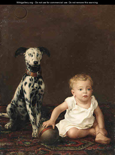 A young boy and a dalmation - Victorian School