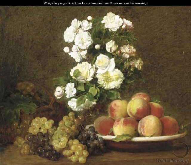 White roses in a vase with peaches and grapes on a table - Victoria Dubourg Fantin-Latour