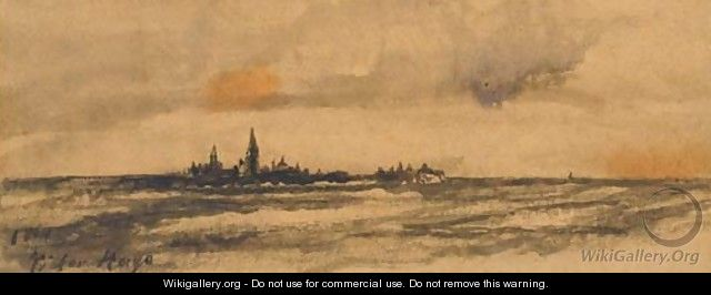 A seascape with a town on an island - Victor Hugo