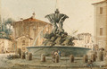 The Fountain of the Piazza Santa Maria in Cosmedin with the Temple of Cybele, Saint Peter in the background, Rome - Victor Jean Nicolle