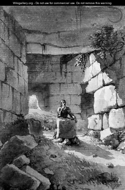 A man meditating among ruins - Victor Jean Nicolle