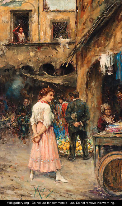 A young Girl in a Neapolitan Market - Vincenzo Migliaro