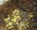 Lilies of the valley, primulas, forget-me-nots and violets on a mossy bank - Vincent Clare