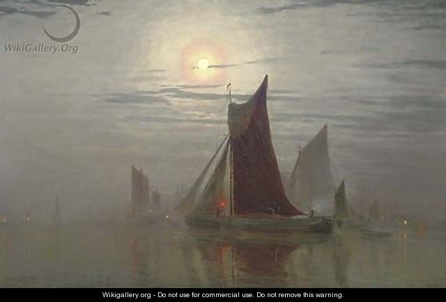 Shipping vessels by moonlight - William Simpson
