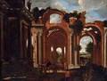A capriccio of the Basilica of Constantine with travelers by a drinking trough and others resting - Viviano Codazzi
