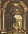 A portico leading to a garden with an elegant couple promenading - Viviano Codazzi