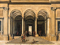 A classical loggia with Christ and the Woman taken in Adultery - Viviano Codazzi