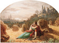 Lovers in an embrace beside corn stooks - Waller Hugh Paton