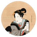 Beauty in a round window - Toyokuni