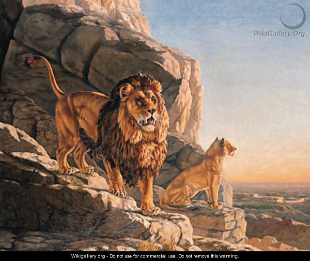 Lion and a Lioness on the Lookout on a Mountain - Urs Eggenschwiler